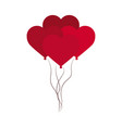 love bunch balloons shaped hearts decoration vector image vector image