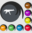 machine gun icon sign Symbol on eight colored vector image vector image
