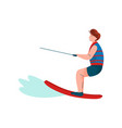 man riding wakeboard water skiing guy relaxing vector image