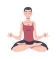 meditative female engaged in pranayama practice vector image vector image