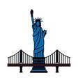 new york city statue of liberty and bridge vector image