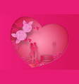 paper art style of rose flowers and vines on pink vector image vector image