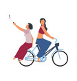 people on bike cute women riding on bicycle vector image vector image