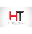 red and black ht h t letter logo design creative vector image
