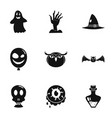 scary halloween icon set simple style vector image vector image