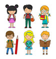 set boys and girls students vector image vector image