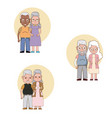 set of grandparents couple cartoons vector image