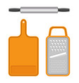 set of kitchen equipment isolated on white field vector image vector image