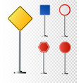 set of road signs isolated on transparent vector image vector image