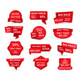 set retail red sale banner deal stickers vector image