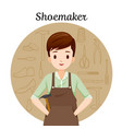 shoemaker with outline icons set of shoes repair vector image vector image