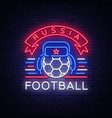 soccer championship logo neon neon vector image vector image