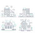 thin line countryside suburban american house with vector image vector image
