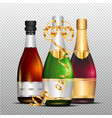 three bottles of champagne with gold curly ribbon vector image