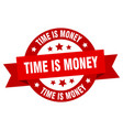 time is money ribbon time is money round red sign vector image vector image