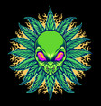 weed alien cannabis mandala with fire vector image