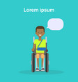 young man on wheel chair happy african american vector image vector image