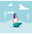 young woman sitting in landscape avatar character vector image vector image