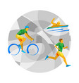 triathlon with abstract patterns vector image