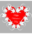 A red heart decorated with flying white doves vector image