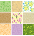 set of floral color seamless pattern with flowers vector image