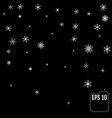 black background with white snowflakes vector image vector image