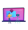 blogger recording video blog with camera for vector image vector image