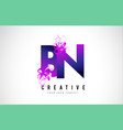 bn b n purple letter logo design with liquid vector image vector image