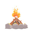 bonfire camping fire surrounded by stones cartoon vector image vector image
