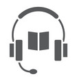 book with headphones glyph icon e learning vector image vector image