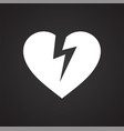 broken heart icon on black background for graphic vector image