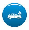 burning car icon blue vector image vector image