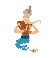Cartoon djinn old man coming out of a magic lamps vector image vector image