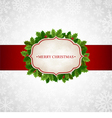 Christmas background with holly leaves vector image vector image