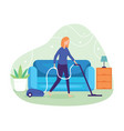 clean floor and carpet with a vacuum cleaner vector image