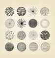 collection trendy hand drawn circles textures vector image