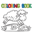 Coloring book of little funny sheep vector image vector image