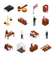 court session concept icons 3d isometric view vector image vector image