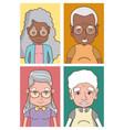 cute grandparents cartoons vector image