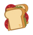 Delicious sandwich isolated flat icon vector image