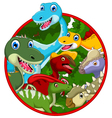 Dinosaur cartoon collection in frame vector image