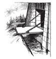 draw bridge wooden bridge vintage engraving vector image vector image