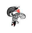 drawing in love ornamental chameleon vector image vector image