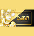 easter black and gold background with realistic vector image vector image