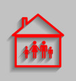 family sign red icon with vector image vector image