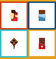 flat icon cacao set of delicious bitter vector image vector image