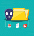 folder with icons cyber security vector image vector image