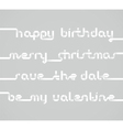 four inscriptions laid out from a strip of white vector image