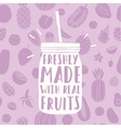 Freshly made with real fruits Hand drawn jar and vector image vector image
