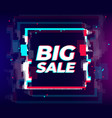 glitch sale poster glitch distorted effect big vector image vector image